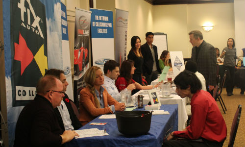 Employers and graduates at a previous AYCE Career Fair. The regular event puts collision repair facilities in direct contact with graduates of AYCE's program.