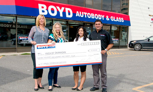 The Kelowna locations of Boyd Autobody & Glass made a large donation to the YMCA of Okanagan this year, thanks to funds raised by the company's annual Father's Day Car Show.