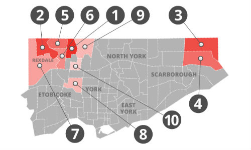 Kanetix has ranked Toronto's neighbourhoods from least to most expensive for auto insurance.