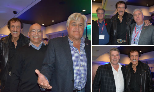 A BASF-sponsored celebrity event at SEMA led to unexpected charitable donations from a number of industry stakeholders. Clockwise, from above left: Richard Petty, Zuby Siddiqui of Crescent Industries and Jay Leno. Mort Hall, GM of White & Peters, Richard Petty and Dave Swenson, GM of Carlson Body Shop Supply. Kelvin Campbell of CSN-Chapman Auto Body and Richard Petty.