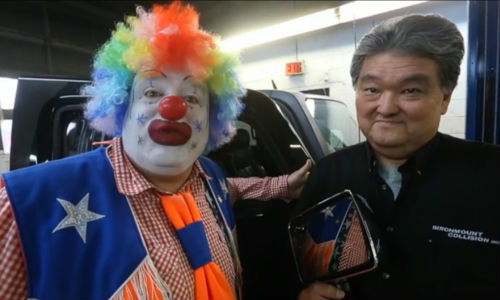 Doo doo the hero clown and Wayne Hosaki of Birchmount Collision.