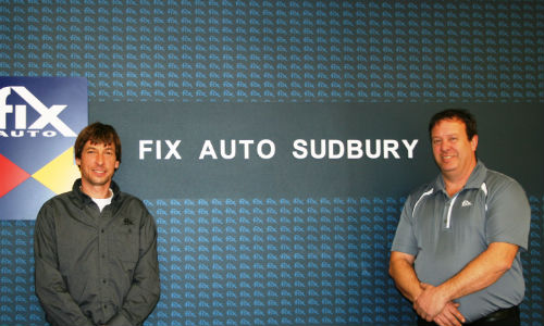 Derek Bartlett, owner of Fix Auto Sudbury, and Rick Burton, the facility's General Manager.