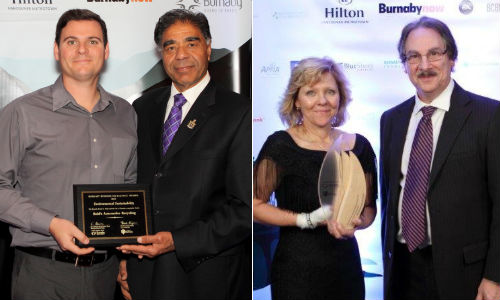 LEFT: Matt Reid accepting the finalist award for Environmental Sustainability. RIGHT: Teresa Reid accepting the Environmental Sustainability award on behalf of Reid's Automotive Recycling & Alloy Wheel repair from George Strappa, Dean of Business at Douglas College.