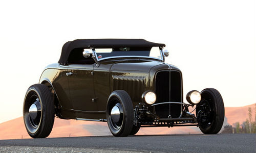 "Hollenbeck's award-winning 1932 Ford roadster in ""Rotten Avocado Green."" The colour was custom created from PPG's Envirobase and Deltron lines."