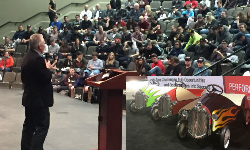 Dave Swenson, GM of Carlson Body Shop Supply, addresses students on Calgary's World of Wheels event. INSET: Entries in the latest Pedal Car Challenge, an event sponsored by Carlson.