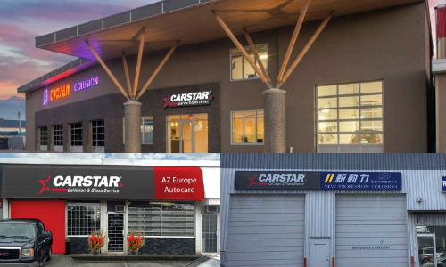 The new CARSTAR facilities in British Columbia. Clockwise, from top: CARSTAR Quality Assured Trojan, CARSTAR Richmond (New Profession) and CARSTAR North Burnaby.