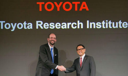 Gill Pratt (left) and Toyota's President Akio Toyoda at the launch announcement of TRI in 2015. Pratt heads up the Toyota Research Insitute (TRI), with the stated goal of developing vehicles that are incapable of crashing.