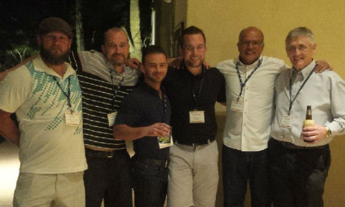 Celebrating at the PPG MVP Conference. From left: Kyle Faith, Jason Ryan, Brian Martins, Bill Buckley, Desmond D'Silva and Simon Brunet.