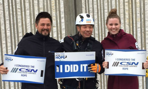 Lauren, Gord and Andrew Hodson from CSN-Don Butt Autobody, after participating in the Rope for Hope event in 2015.
