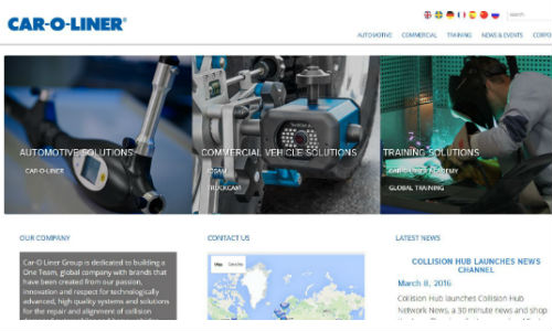 Car-O-Liner's new website breaks the company's offering down into Automotive Solutions, Commercial Vehicle Solutions and Training Solutions.