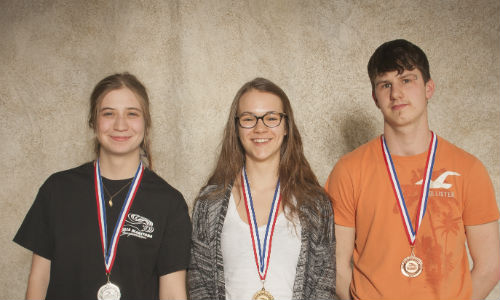 Manitoba medalists in the Car Painting competition. From left: Jessica Tomchuck, Ashley Weber and Nicola Gosselin.