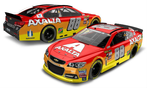 Two views of the No. 88 Axalta Chevrolet SS Show Car. The vehicle will be on display at Steve Lewis Auto Body as part of the lead-up to the IWK 250.
