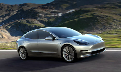 A Tesla 3, the new 'mass-market' version of the company's electric vehicle. Tesla has recently announced plans to produce 500,000 electric cars every year starting in 2018.