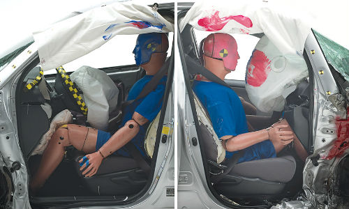 The structure of the Toyota RAV4 held up well in the driver-side small overlap test (left). In contrast, intrusion was severe in the passenger-side crash.