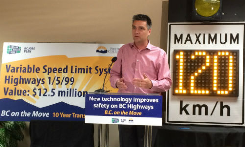 BC's Minister of Transportation and Infrastructure Todd Stone discusses the new variable speed limit signs during a press conference.