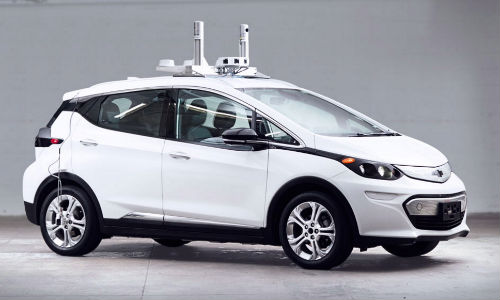 An AV-equipped Chevy Bolt from Cruise Automation. GM purchased Cruise in March 2016.