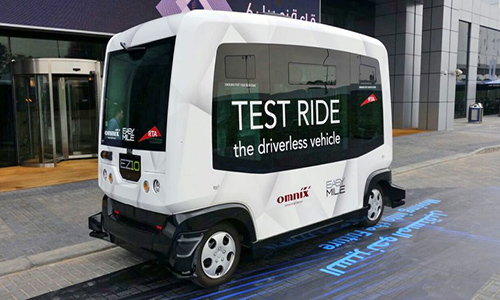 A ten-seater driverless car on its test run in Dubai, United Arab Emirates earlier this year. An Asian automotive firm is expected to launch a similar fleet in Singapre next year.
