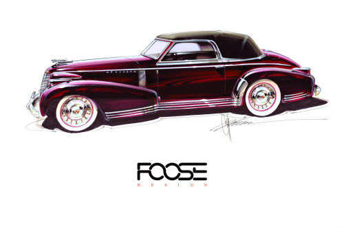 Rendering of the 1939 Cadillac Coupe restyled by Chip Foose and painted with Glasurit 90 Line. The car will be officially unveiled at the 2016 SEMA Show.
