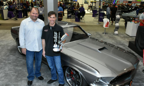 Jonathan Goolsby (right) took first place in the Glasurit Best Paint Award with this 1969 Ford Mustang. The car is owned by Tim Spencer (left).