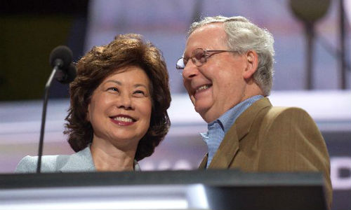Elaine Chao, Donald Trump's pick for Transportation Secretary, with her husband, Senator Mitch McConnell at the Republican National Convention in July.