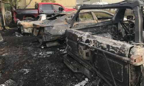A fire at Quality Collision Repair damaged nine vehicles. Photo by Gabriella Canales for the Victoria Advocate.
