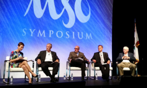 Marcy Tieger of Symphony Advisors (left) served as moderator for the Insurer Panel at the 2016 MSO Symposium. Tieger will fill that role again in 2017. Photo by John Huetter of Repairer Driven News.