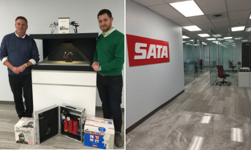 Left: John Turner and Yunus Tak of SATA Canada with some of the company's equipment. Right: A view of part of the new Canadian headquarters for the company.