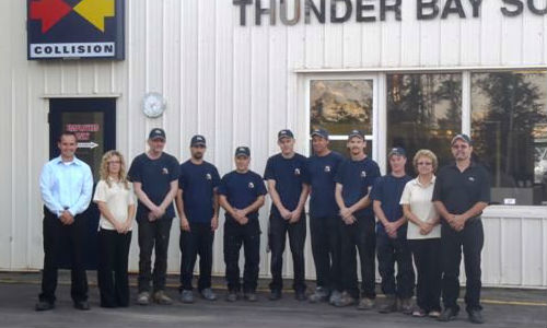The team at Fix Auto Thunder Bay South. The facility has recently achieved I-CAR Gold Class, thanks in part to an in-house training centre.