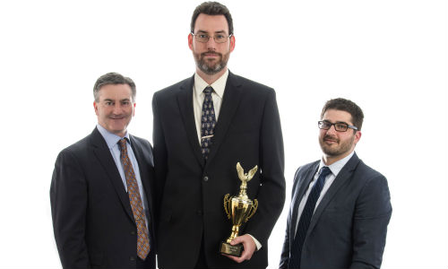 Bruce Young (centre) has received the 2016 Rick Berg Award from 3M. The award was presented by General Manager Rick Orser (left) and Regional Sales Manager Dan Laturnas (right).