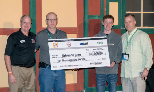 BASF presents a $10,000 cheque to Andrew and Bruce Lee of Driven to Cure. From left: Bruce Lee of DTC, Marvin Gillfillan of BASF, Andrew Lee of DTC and Dan Bihlmeyer of BASF.
