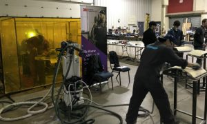 During the Autobody Repair competition in Saskatoon. The competition was held at the CNH Training Centre.