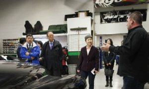 Rick Francoeur of CARSTAR Abbotsford and 360 Fabrication (right), giving a tour of the operations he co-owns with his brother Daryl to Chinese officials, including H.E. Consul General Liu Fei, the highest-ranking Chinese diplomat in Canada.