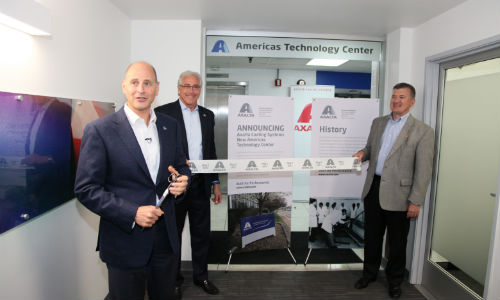 At the grand opening of Axalta's revamped Americas Technology Center. From left: Barry Snyder, Senior Vice President and Chief Technology Officer; Steve Markevich, Executive Vice President and President, Transportation and Greater China; and Mike Carr, Vice President and President, North America.