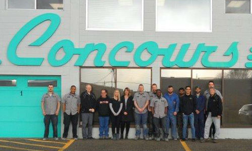 The team from Concours Collision Central in Calgary. The facility is one of three Concours Collision Centre facilities to achieve I-CAR Gold Class.