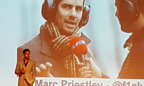 Marc Priestley at IBIS 2017. Priestley used an anecdote from his days as an F1 mechanic to highlight how adversity can conceal opportunity.