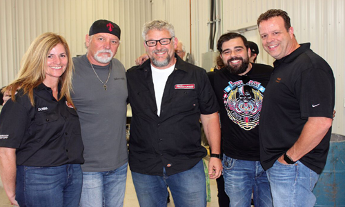 A few of the people at the demonstration held at Wallace's Conley Collision. From left: Donna Rioux, Manager of Peterborough Paint & Body Supply, House of Kolor's Market Manager Ron Fleenor, Darrin Heise and Dave Pereira of PBE Distributors and Chuck Rollins of Valspar.