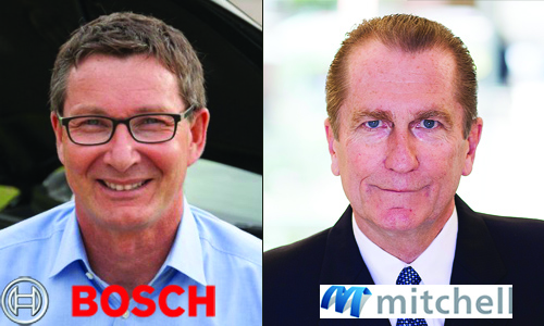 Left: Stefan Schmitt, Vice President of Engineering and Product Area Diagnostics at Bosch Automotive Service Solutions. Right: Jack Rozint, Vice President of Sales and Service at Mitchell International. Mitchell and Bosch have recently announced a collaboration on scanning technology.