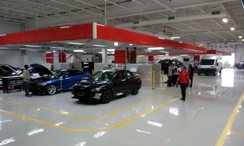 Inside the new home of European Autobody in Woodbridge, Ontario. The facility's move included the installation of new equipment and processes from Symach.