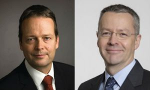 "Ton Buechner (left) has resigned as CEO of AkzoNobel, citing health reasons. Thierry Vanlancker (right), leader of the company's chemical division, will take his place as part of ""emergency contingency planning."""