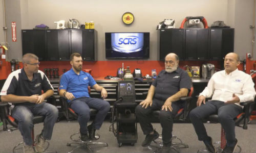 Panelists in the SCRS welding tips video series, from left: Andy Dingman of Dingman's Collision Center, Michael Bradshaw of K&M Collision, Toby Chess of Kent Automotive and Dave Gruskos of Reliable Automotive Equipment.
