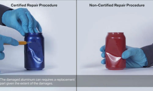 One of the videos provides a striking demonstration of the differences between using the official OEM procedure and a traditional repair by using aluminum cans.