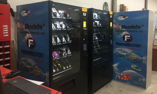 The 'vending machines' at Budds' Collision. Provided by FinishMaster and Concept, the system helps to automate and streamline inventory control.