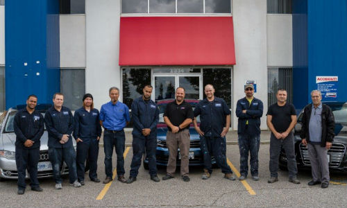 The team at Maaco Newmarket. The facility has recently earned OEM certification from Volkswagen and Audi, and is currently working towards certification from FCA.
