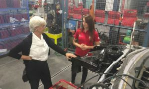 Hélène Laverdière, MP for Laurier—Sainte-Marie and Vyolaine Dujmovic, Canada's competitor in autobody at WorldSkills Abu Dhabi.