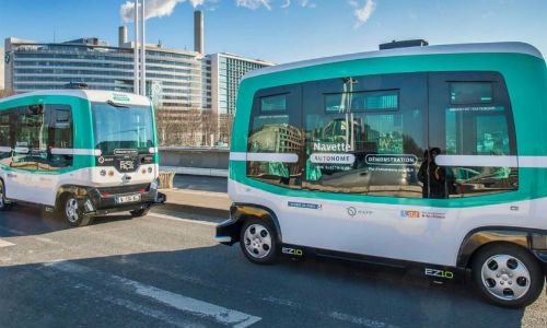 Atlanta has started testing autonomous buses like these Transdev EZ10s on North Avenue in the city's bustling Midtown area. Atlanta has become one of the largest urban areas to test autonomous vehicles, joining Sao Paulo and Shanghai.