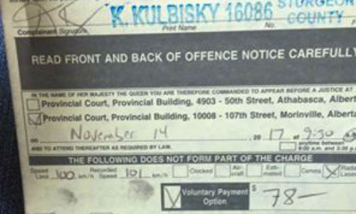 An Alberta man was issued this ticket for driving 101 kilometres an hour in a 100 kilometre per hour zone. Let us reassure that there are not typos in that sentence. An officer in Alberta actually thought this was worth writing a ticket over. The police department in question has since apologized.