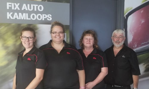 Some members of the team at Fix Auto Kamloops, including owner Steve Davidson (right).