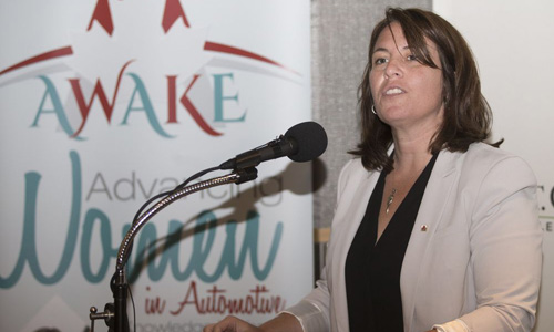 The Advancing Women in Automotive Knowledge Exchange program (AWAKE!) event took place on September 28th in Edmonton, Alberta.Pictured above is France Daviault, Senior Director, Stakeholder Relations at AIA Canada. The Advancing Women in Automotive Knowledge Exchange program (AWAKE!) event took place on September 28th in Edmonton, Alberta.