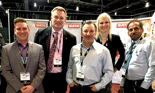 Members of the SATA team at CCIF Toronto, 2018. From left: Jason Couillard, Business Development Specialist; John Turner, General Manager; Brian Rigo, Warehouse Manager; April Chadwick, Marketing Specialist; Bob Wills, Business Development Specialist.