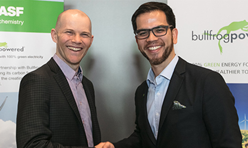 From left: Sean Drygas, vice president finance and corporate development, Bullfrog Power; Marcelo Lu, president of BASF Canada.